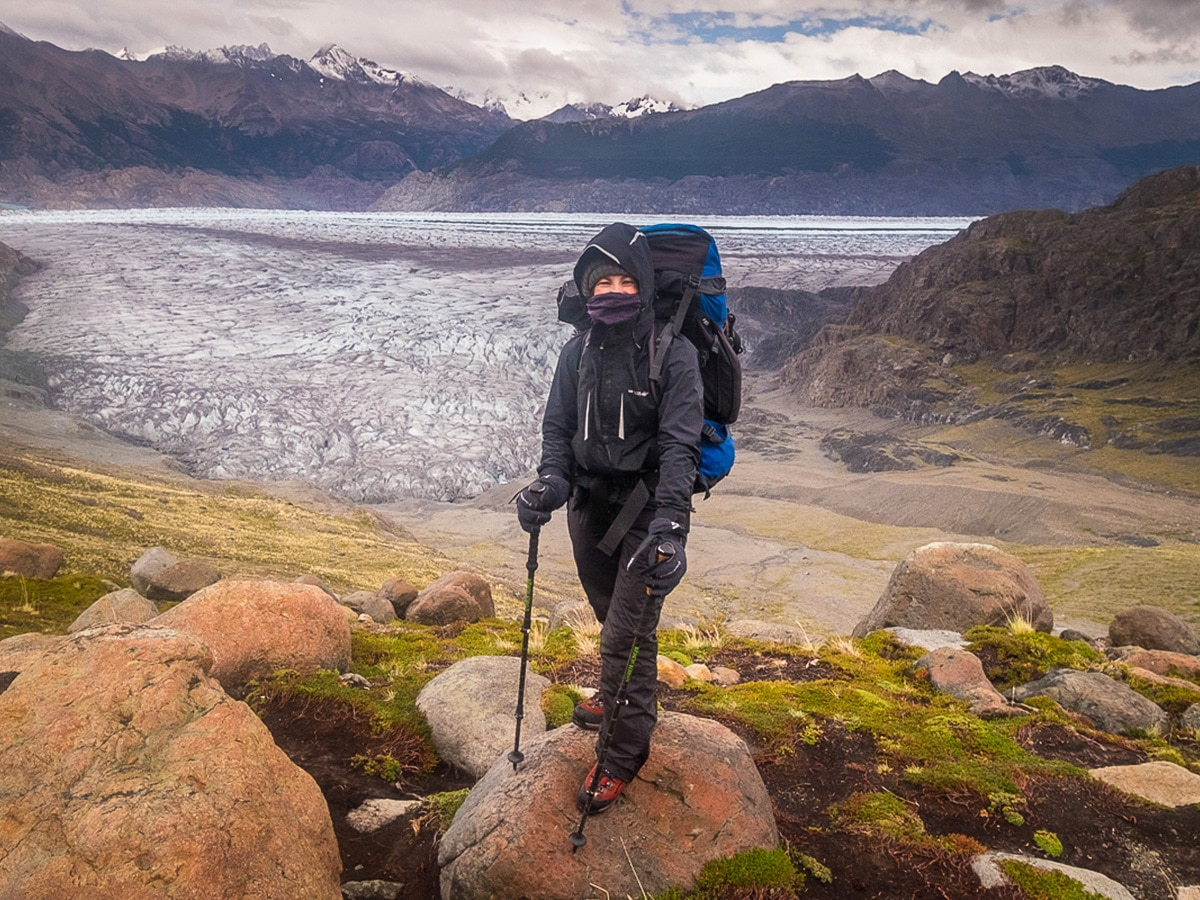 Me in my full kit on the Southern Patagonia Icefield Expedition in Argentina section right gear