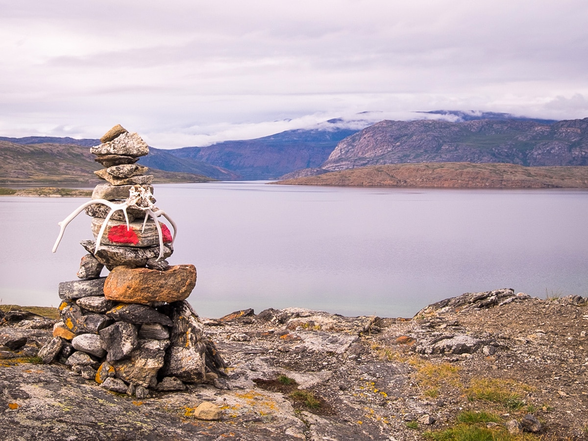 Stone cairns clearly mark the Arctic Circle Trail in West Greenland section getting lost