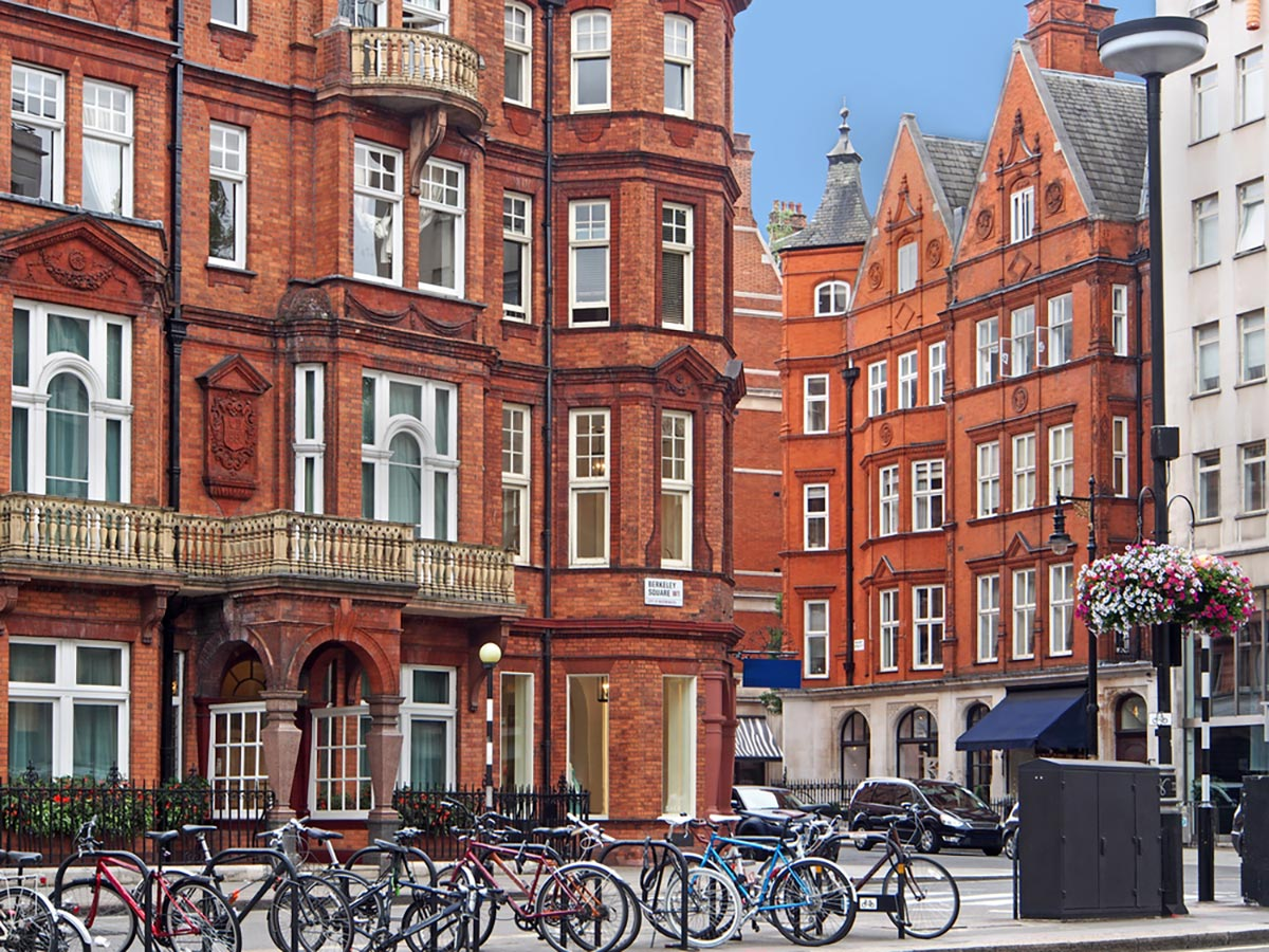 London Mayfair district on a city-walk in London, England, UK