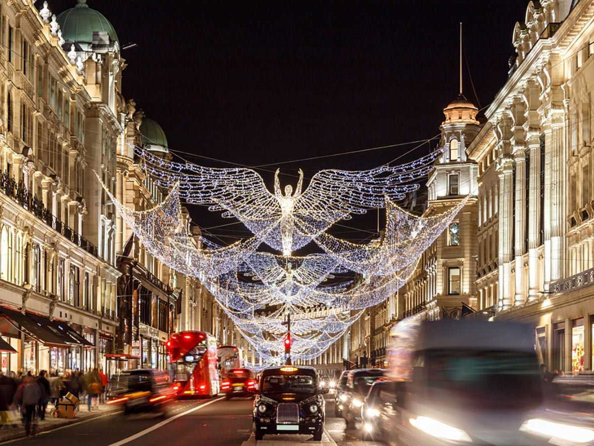Christmas lights in Mayfair while on city-walk in London, UK