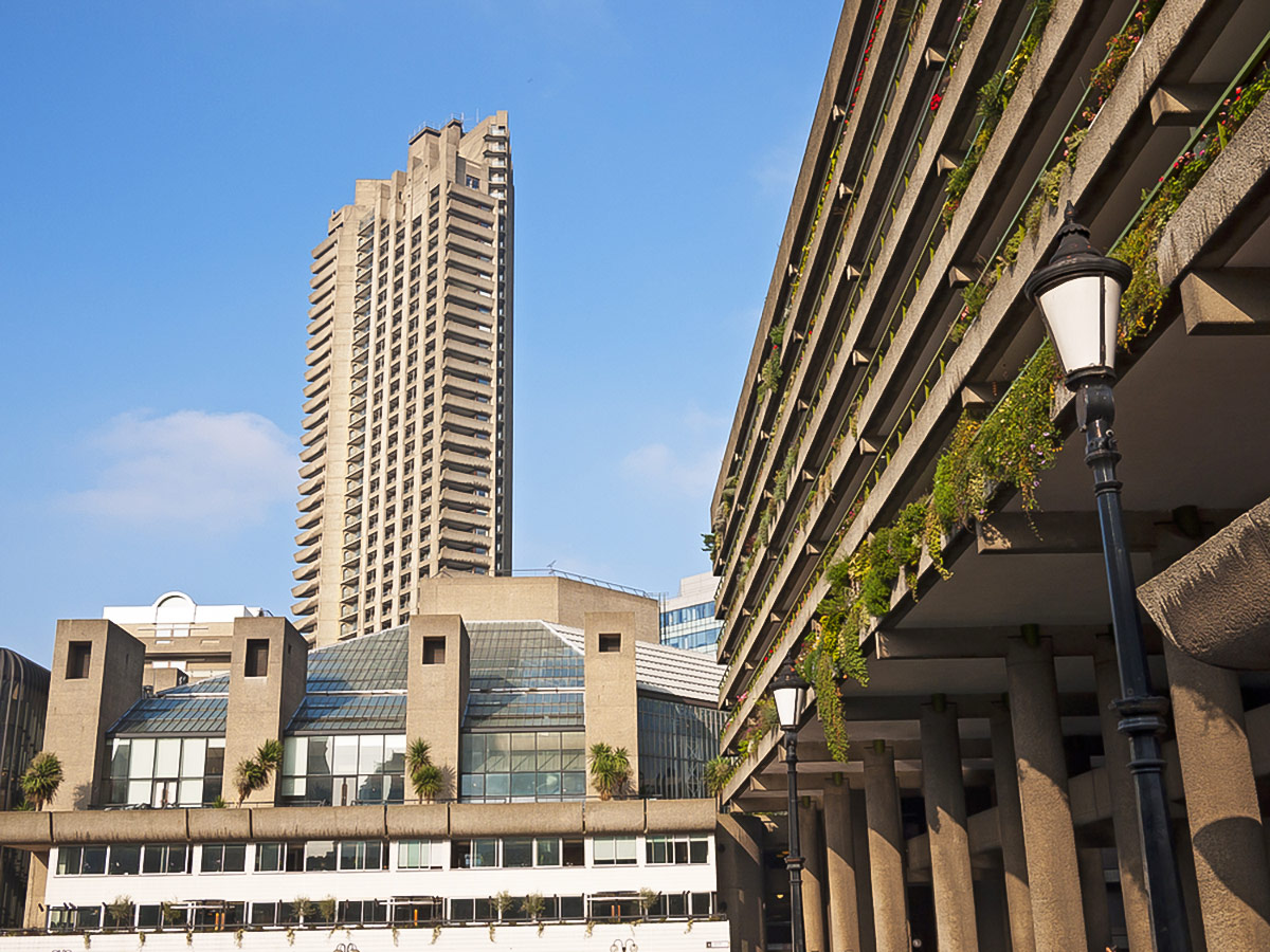 Barbican Towers on King's Cross to the City of London walking tour in London, England