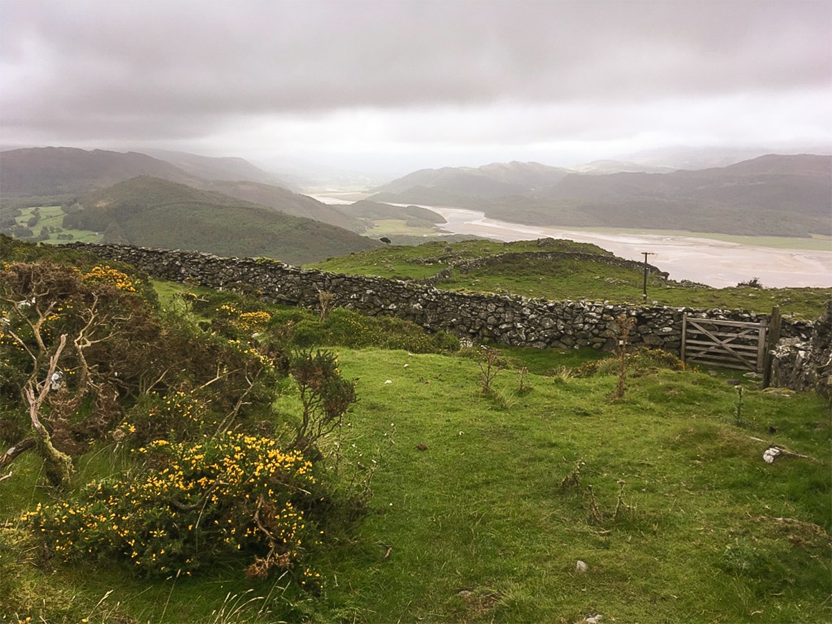 Views down to estuary from Bwlch y Llan on Barmouth Panorama hike in Snowdonia, Wales