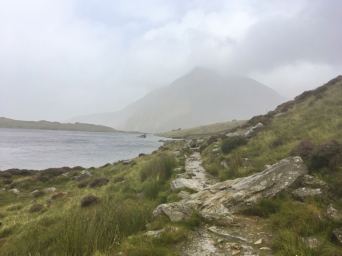 A misty Pen yr Ole Wen on Cwm Idwal walk in Snowdonia, Wales