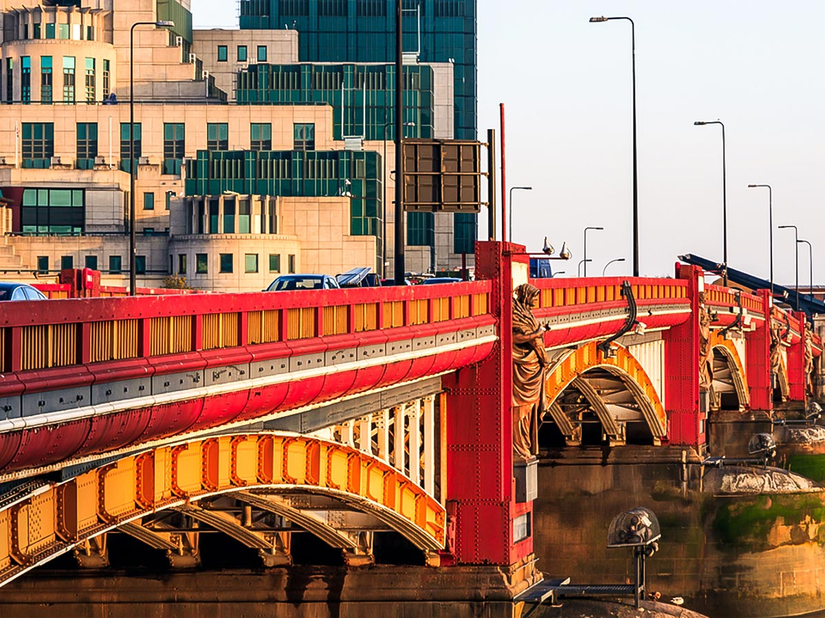 Vauxhall Bridge on a trail along the Thames from Battersea Park to the Tower walking tour in London, England