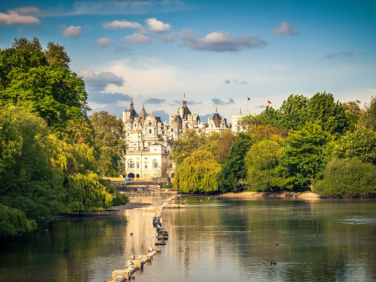 View in St James Park on Waterloo to Westminster walking tour in London, England
