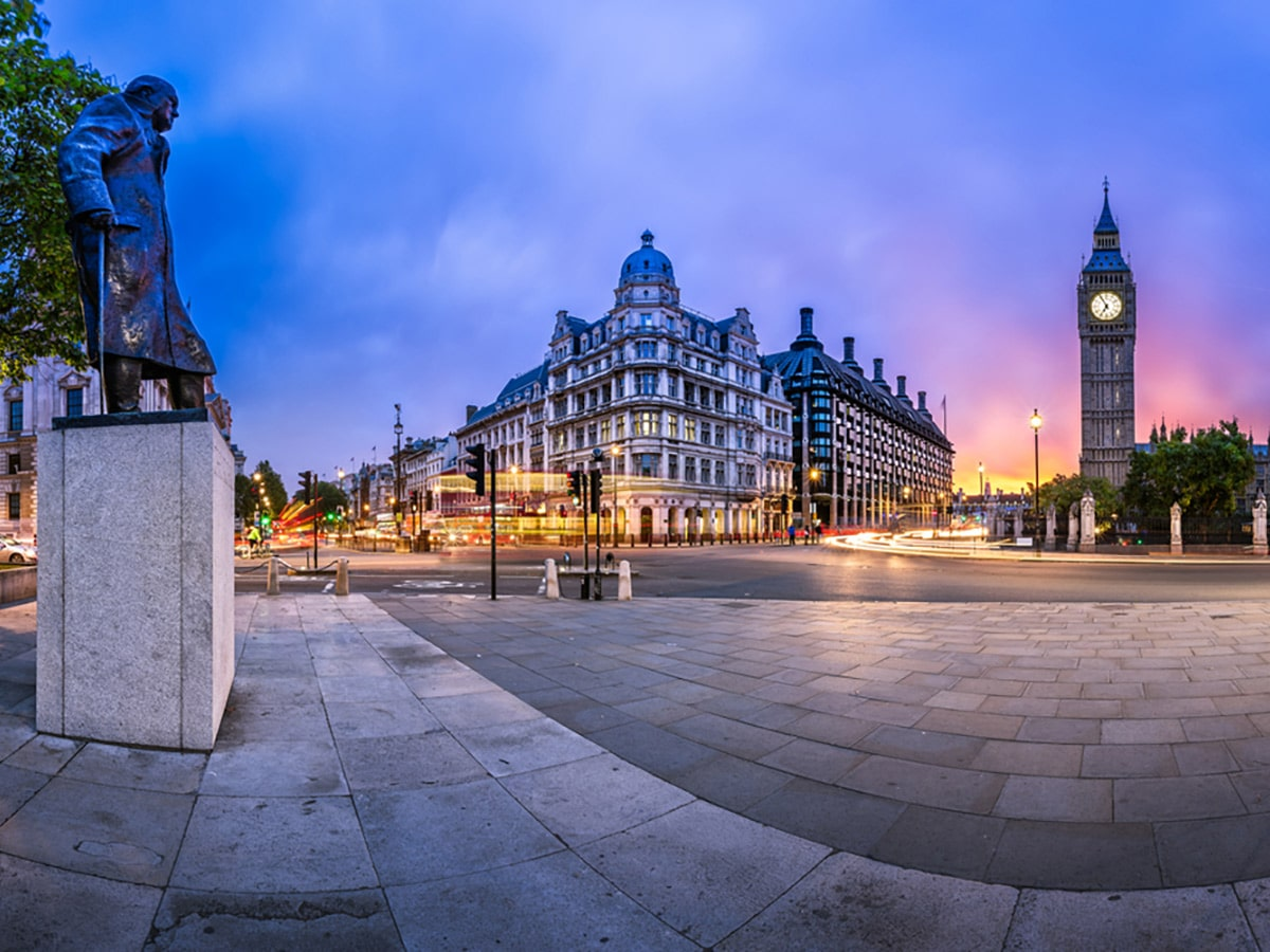 Parliament Square and Queen Elizabeth Tower on Waterloo to Westminster walking tour in London, England
