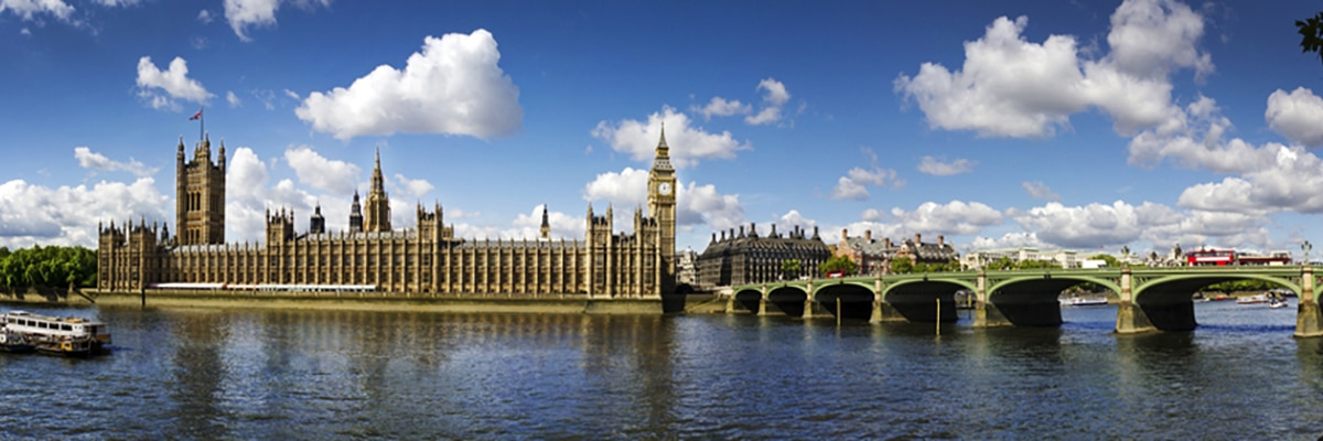 See the houses of Parliament in London on a city walk, England