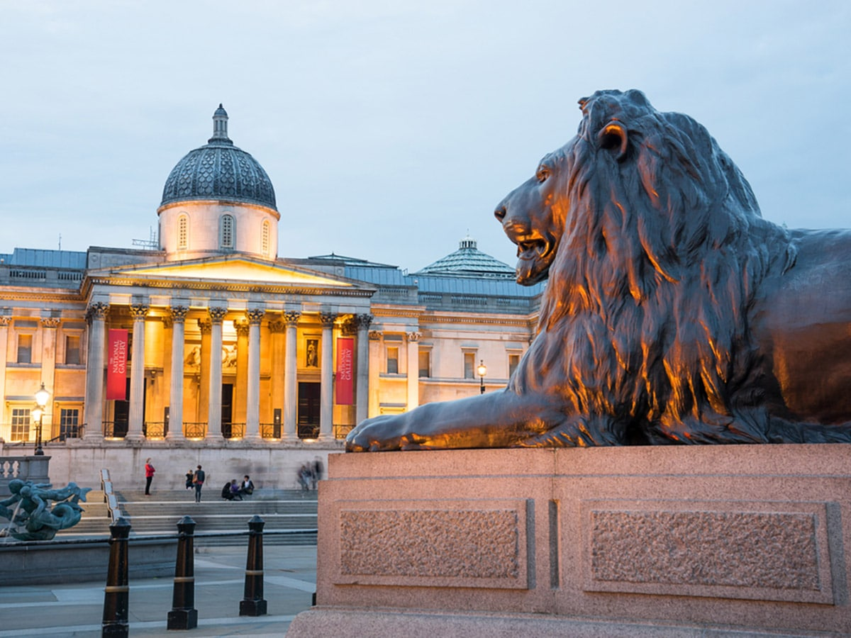 The National Gallery in Trafalgar Square on Charing Cross to Tate Modern walking tour in London, England
