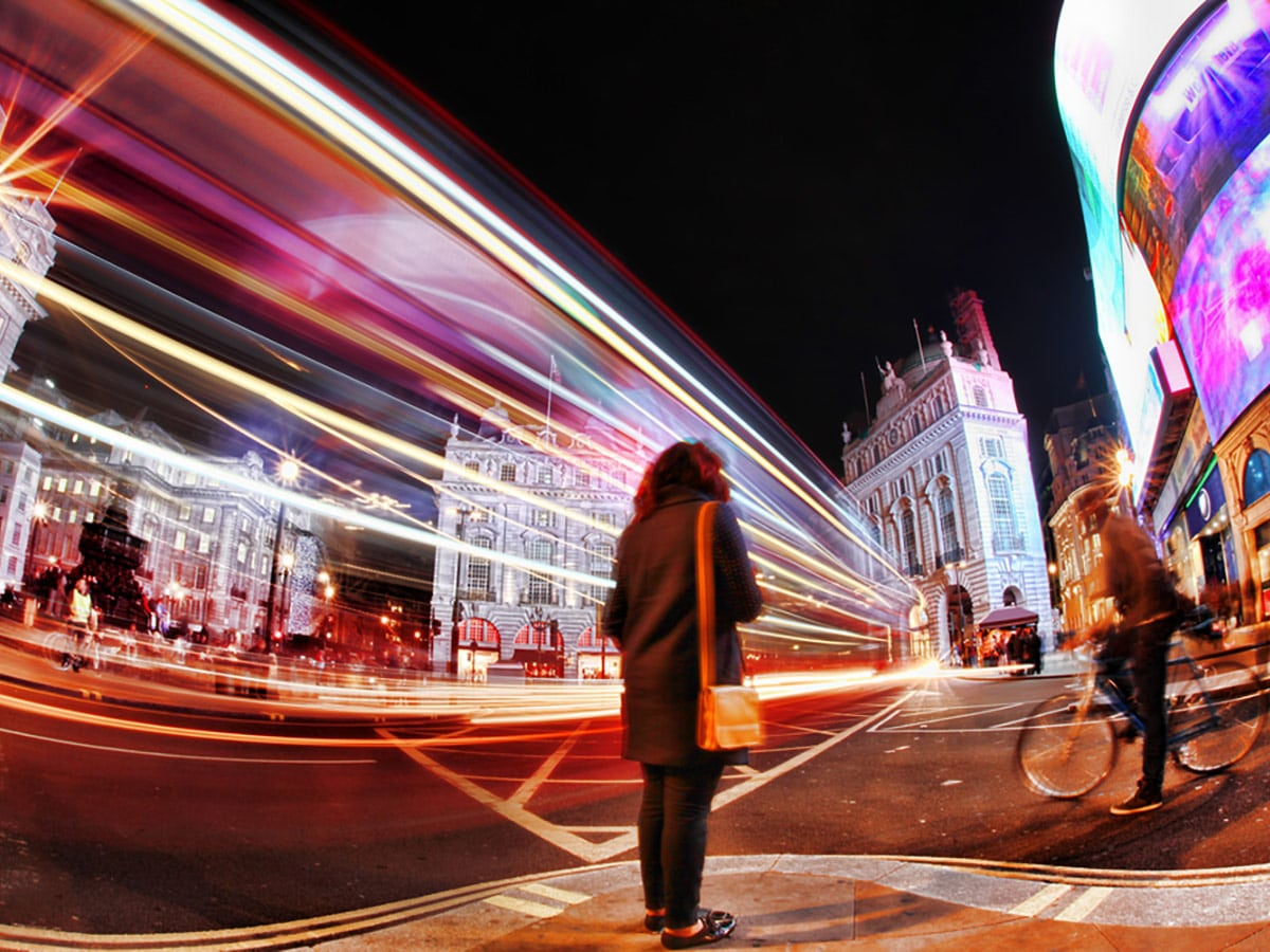 Piccadilly Circus on Charing Cross to Tate Modern walking tour in London, England
