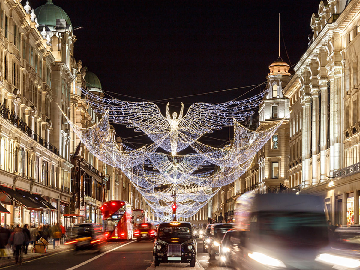 Christmas Lights on Regent Street on Charing Cross to Tate Modern walking tour in London, England