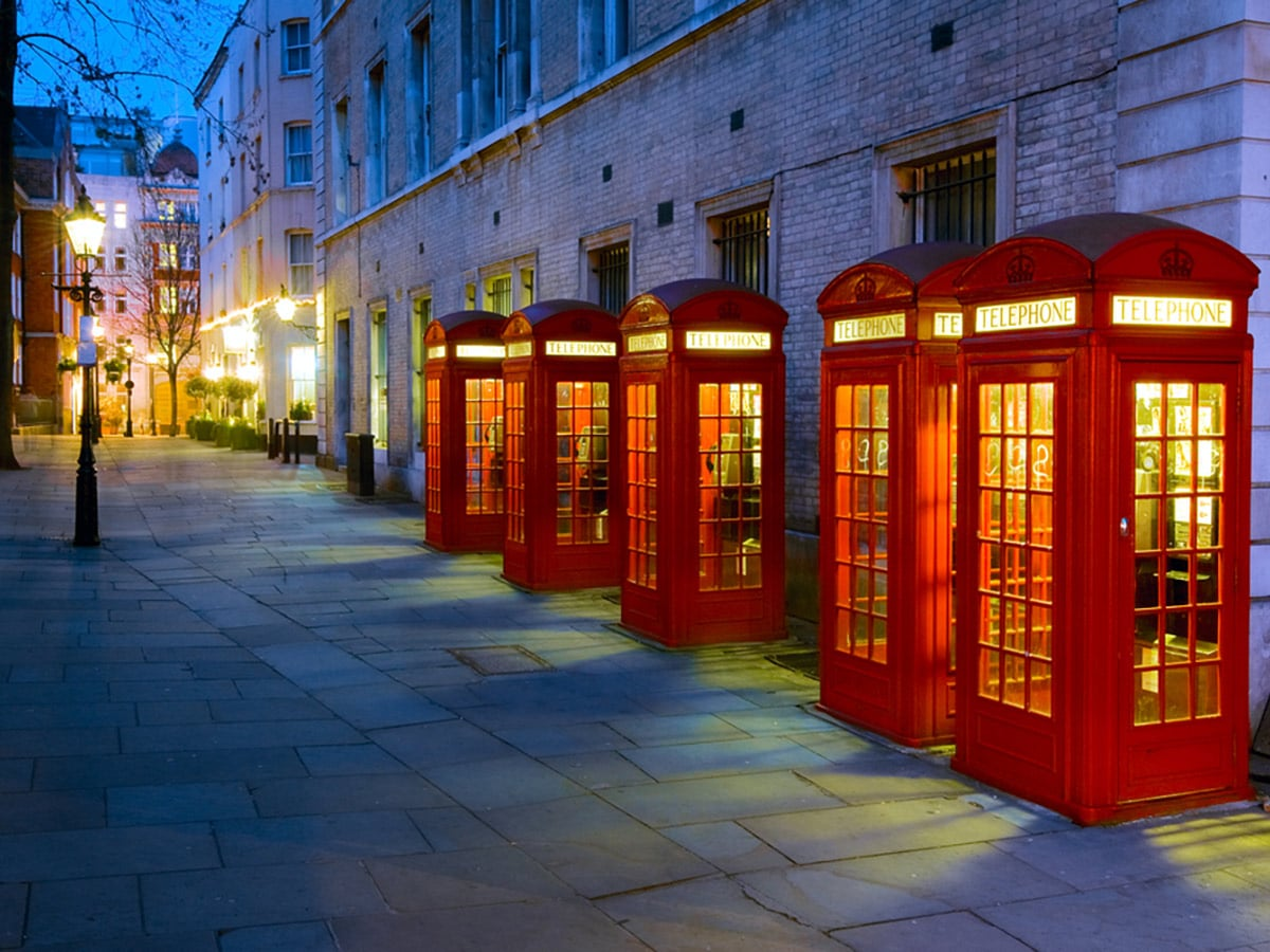Iconic phone boxes near Covent Garden on Charing Cross to Tate Modern walking tour in London, England