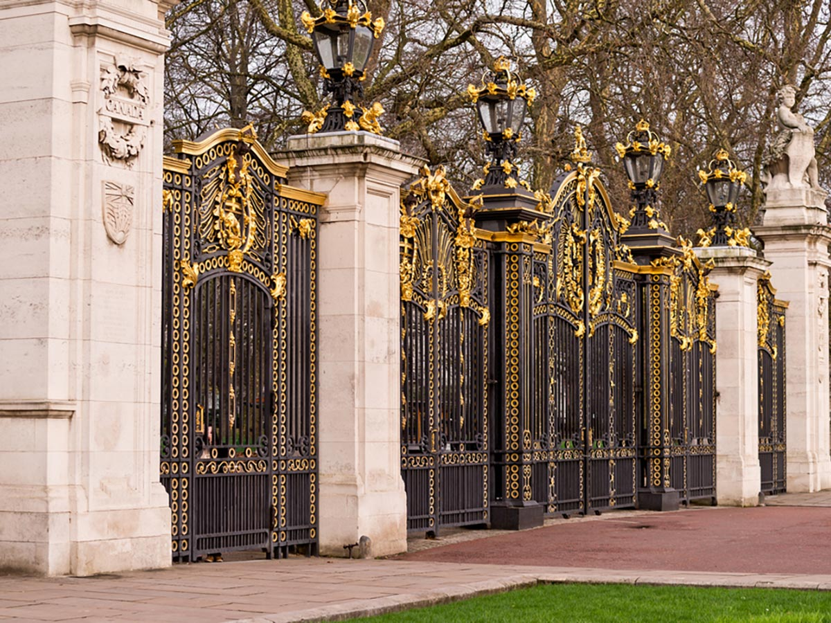 Canada Gate at Buckingham Palace on St. James, Green, Hyde and Kensington parks walking tour in London, England