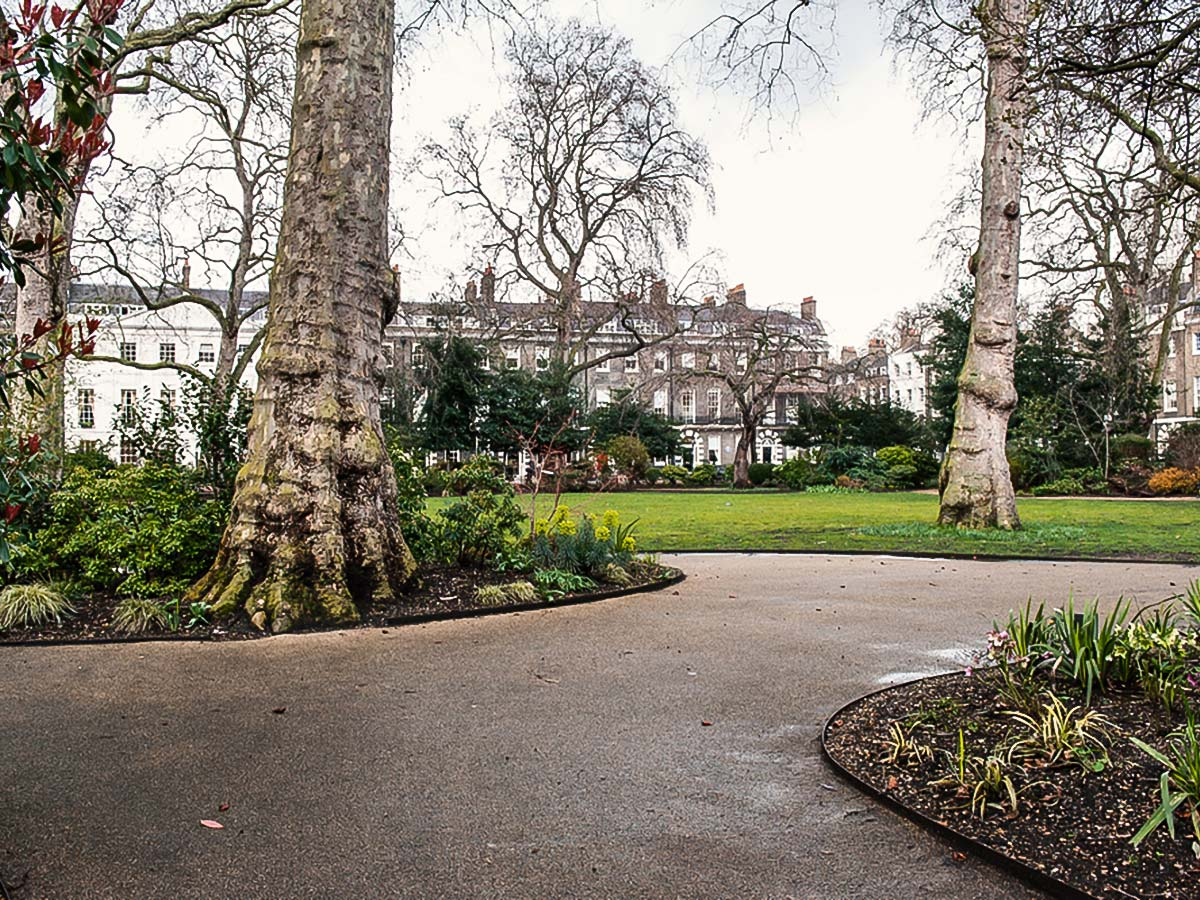 Bedford Square on Baker Street, Regents Park, Fitzrovia and the British Museum walking tour in London, England