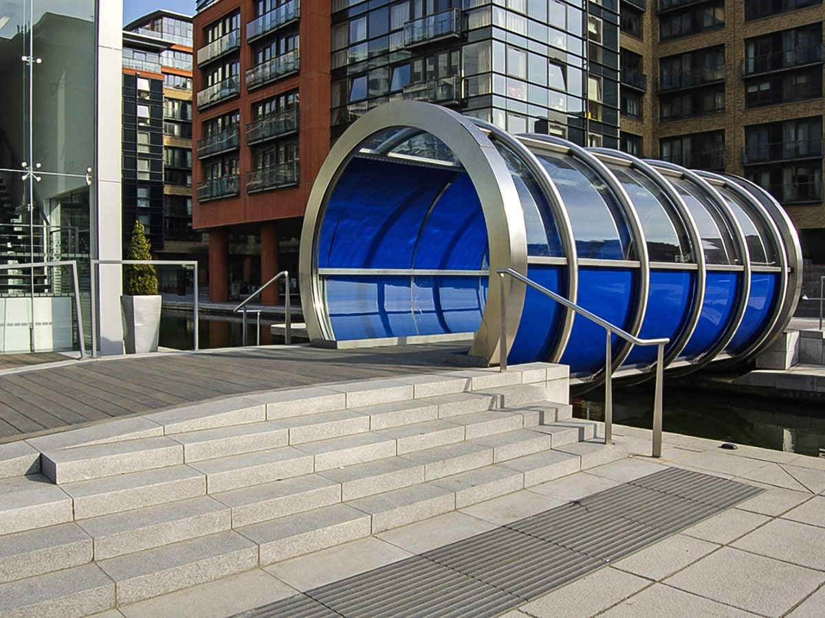 Modern Walkway over Paddington Basin on Regent's Canal from Edgware Road to Camden Town walking tour in London, England