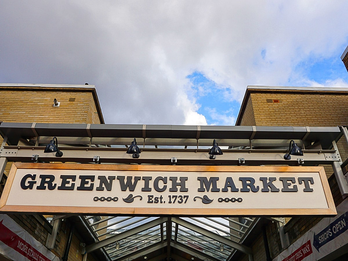 Greenwich Market on Greenwich to The Tower via Canary Wharf and the Thames walking tour in London, England