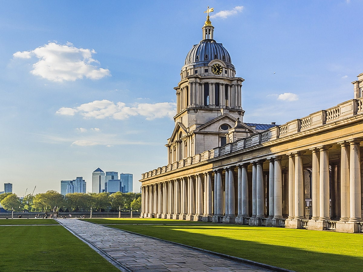 Old Royal Naval College on Greenwich to The Tower via Canary Wharf and the Thames walking tour in London, England