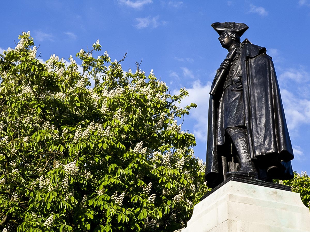 General James Wolfe Statue on Greenwich to The Tower via Canary Wharf and the Thames walking tour in London, England