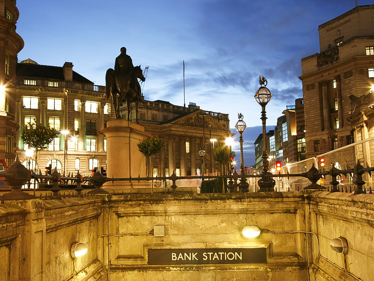 Bank Station on King's Cross to the City of London walking tour in London, England
