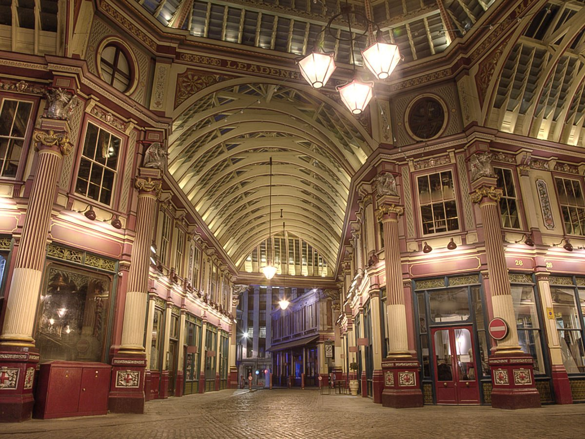 Leadenhall Market at night on King's Cross to the City of London walking tour in London, England