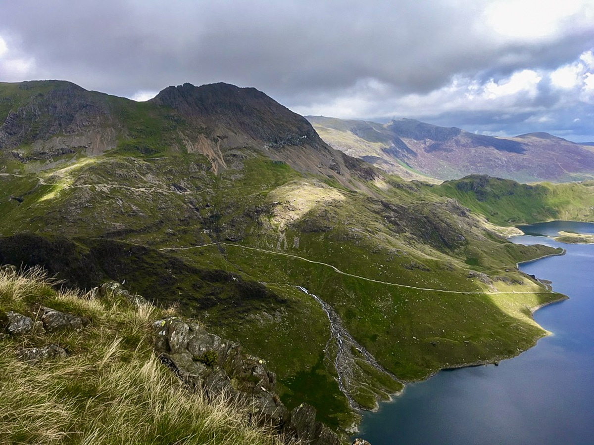 Snowdon Horseshoe hike in Wales has beautiful views of Llyn Llydaw