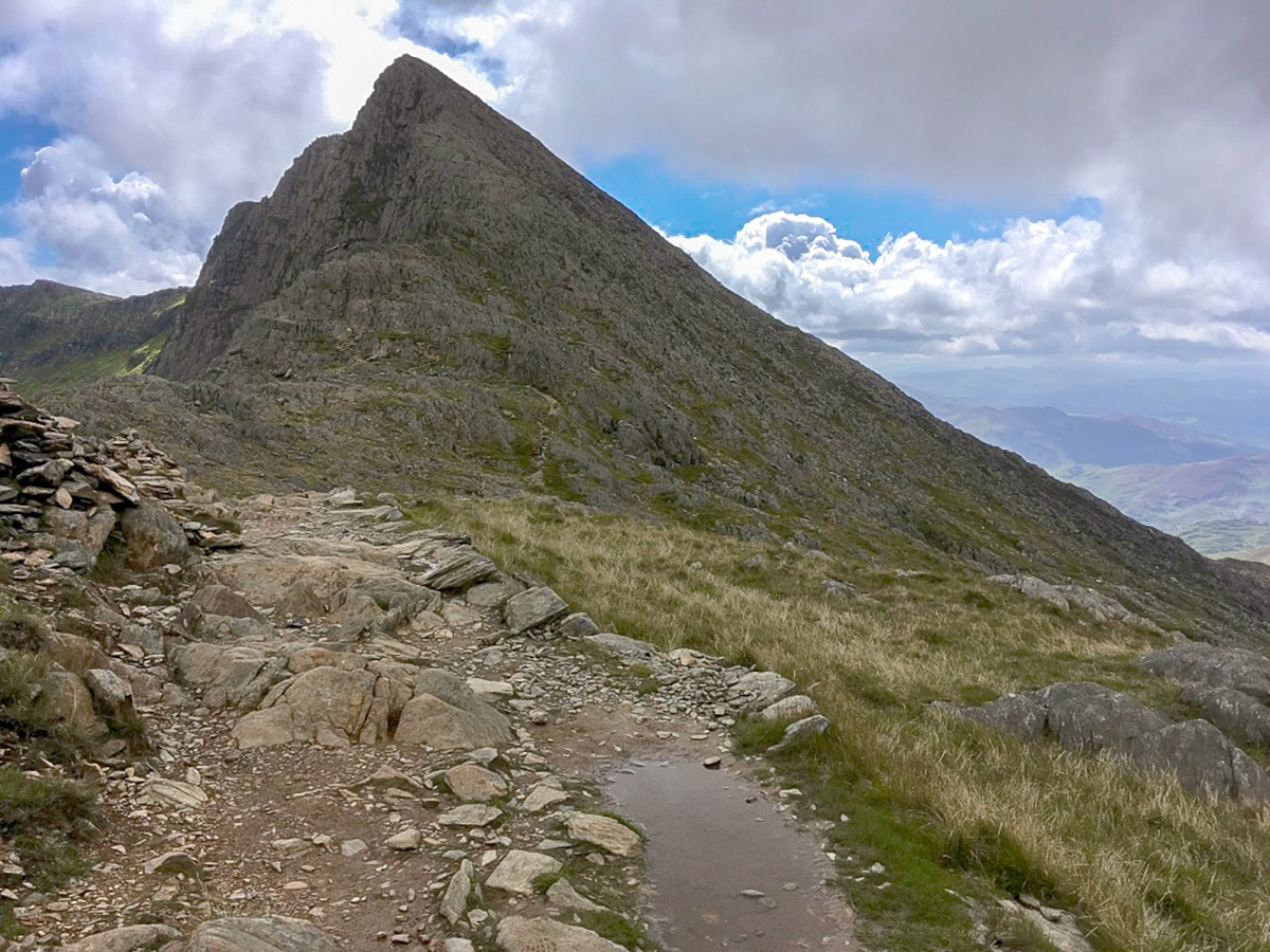 Summit of Lliwedd on Snowdon Horseshoe hike in Wales