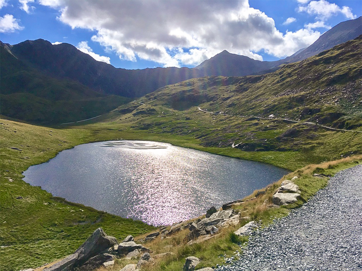 Llyn Llydaw and Snowdon summit on Snowdon via Pyg Track and Miners Track hike in Snowdonia, Wales