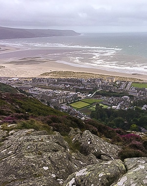 Aerial view of Barmouth, Snowdonia, Whales, UK