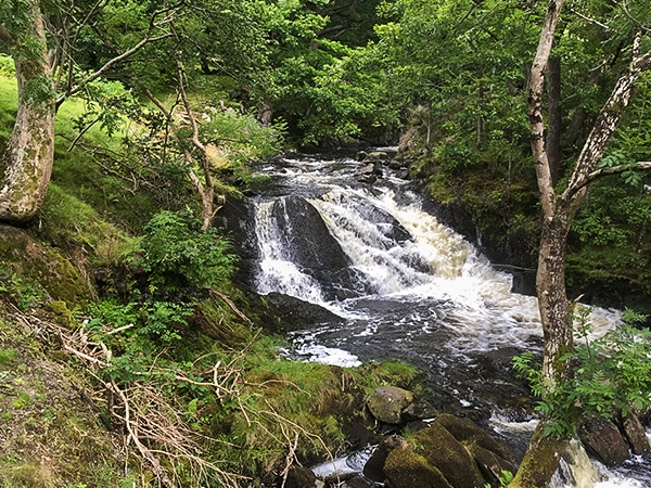 Scenery of Rhaeadr Ddu and Coed Ganllwyd hike in Snowdonia National Park, Wales