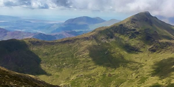 Panorama of Snowdon via the Watkin hike in Snowdonia, Wales