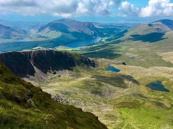 Snowdon via the Watkin hike in Snowdonia has beautiful views