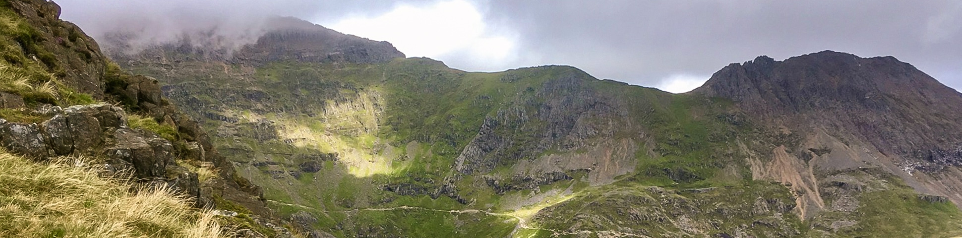 Panoramic view on Snowdon via Pyg Track and Miners Track hike in Snowdonia, Wales