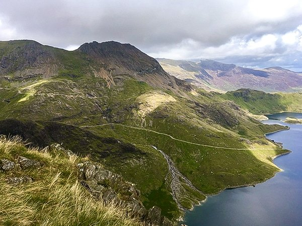 Great scenery on Snowdon via Pyg Track and Miners Track hike in Snowdonia, Wales