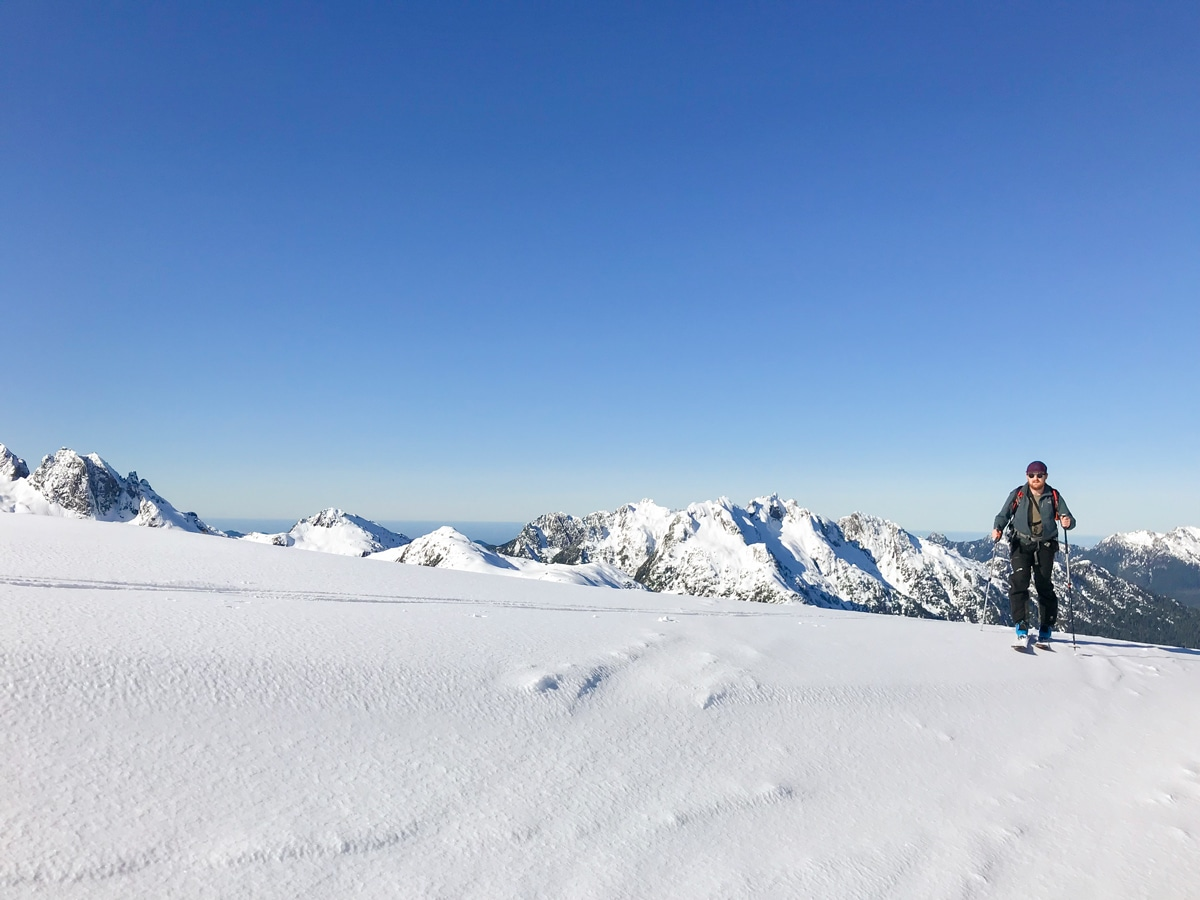 Great views ski touring near Strathcona Park