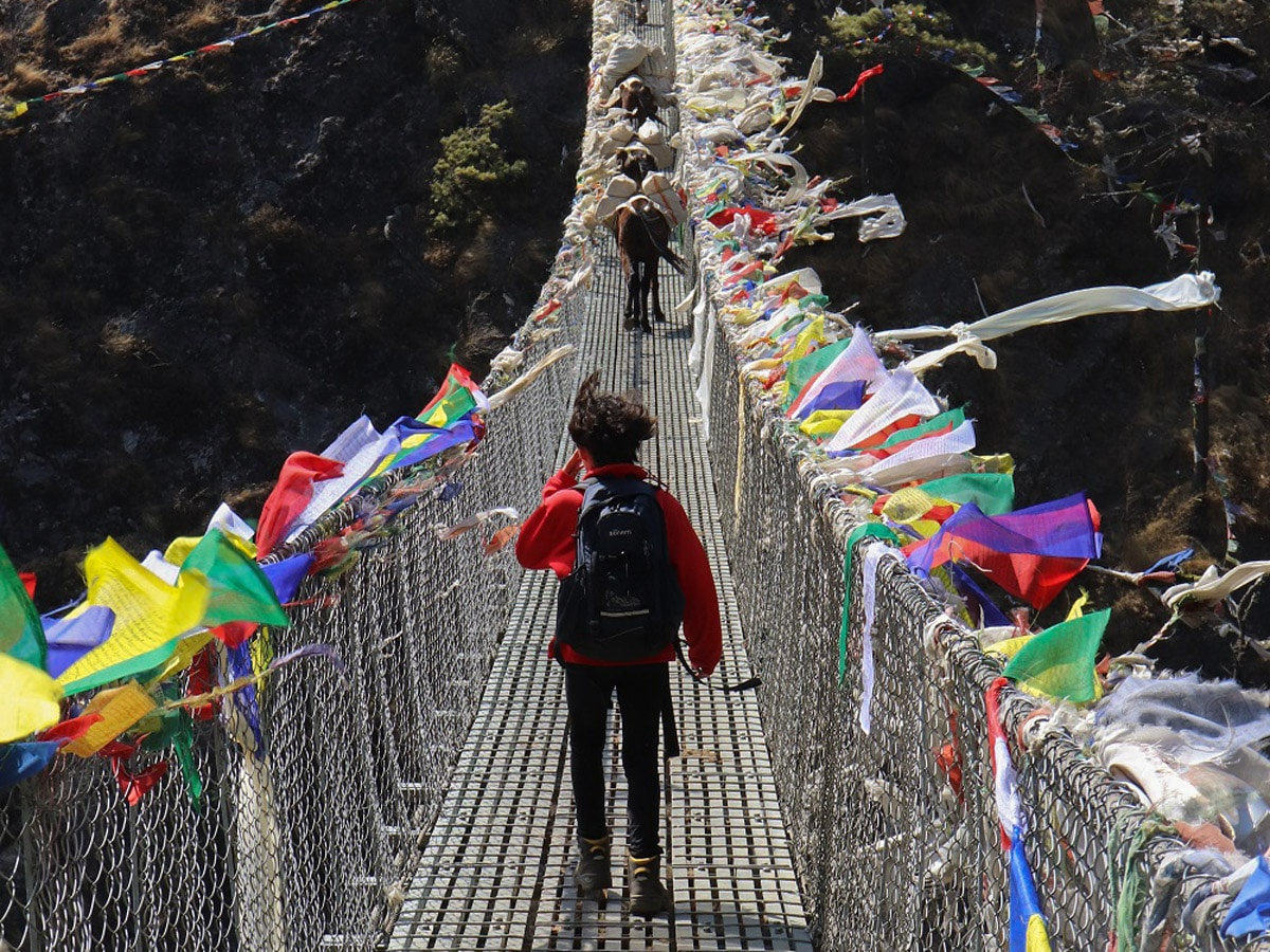 Trekking to EBC on the way to Namche Bazar
