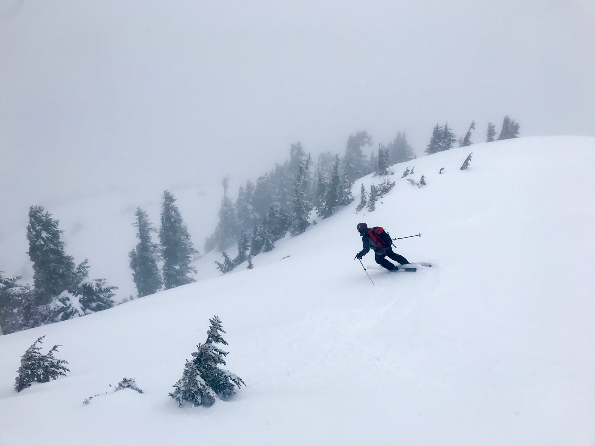 Skiing through a storm from the 5040 Hut on Vancouver Island