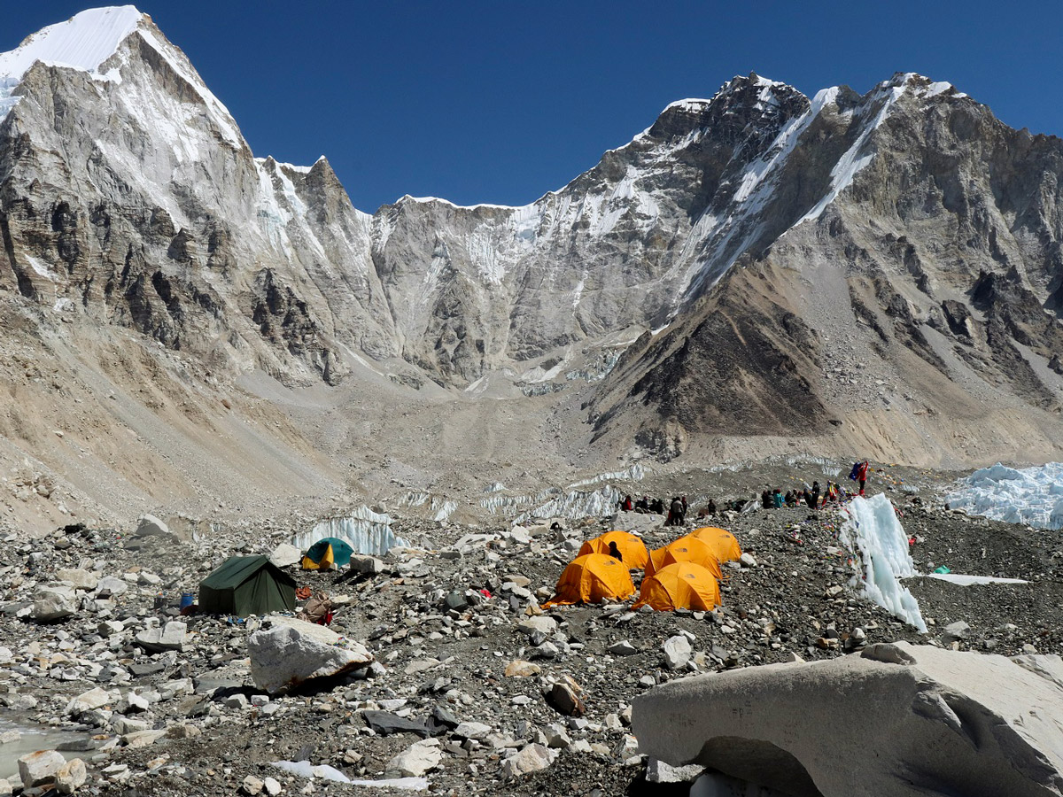 A few tents camped at Everest Base Camp