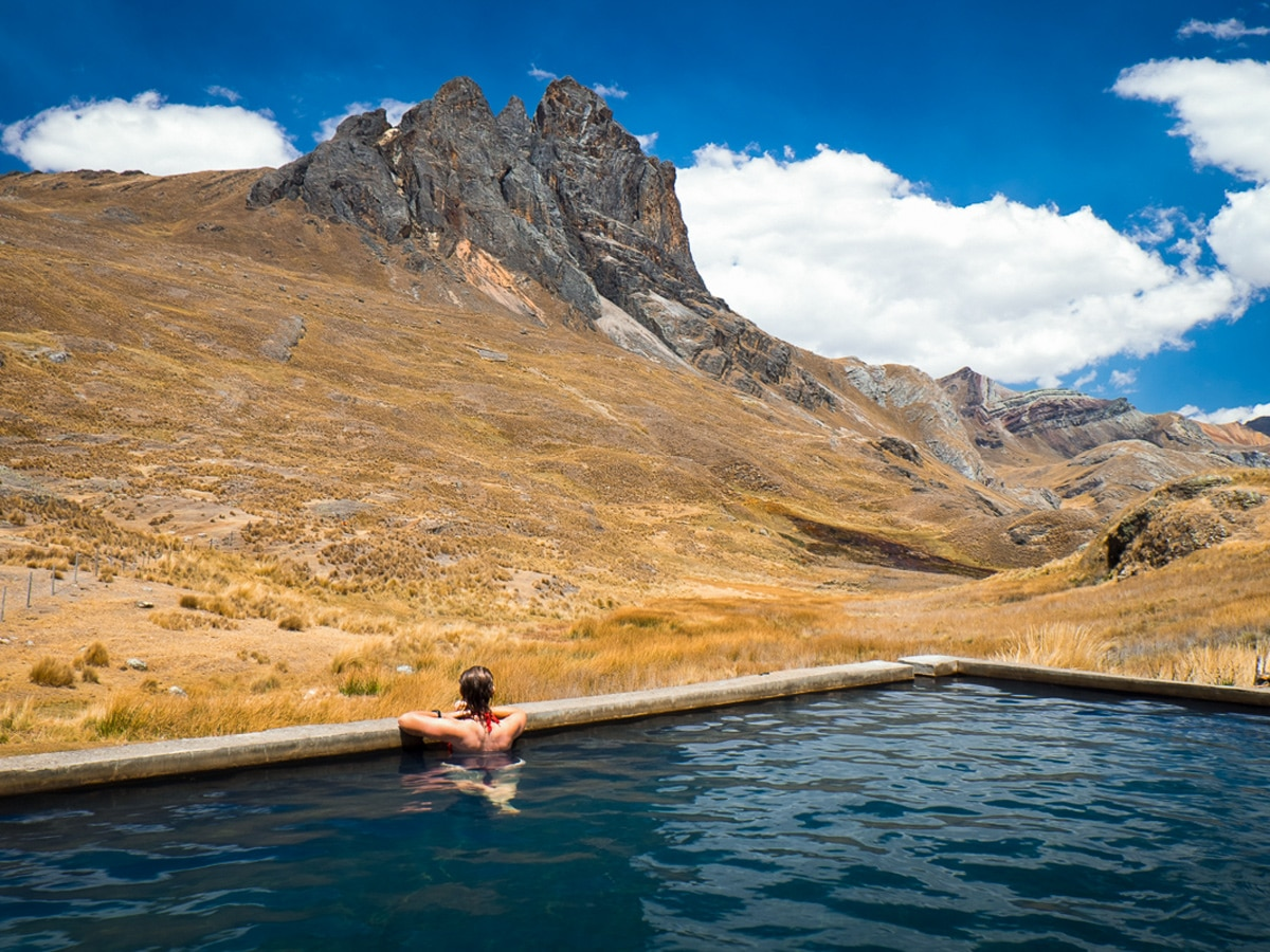 Hot springs on Huayhuash Circuit in Peru