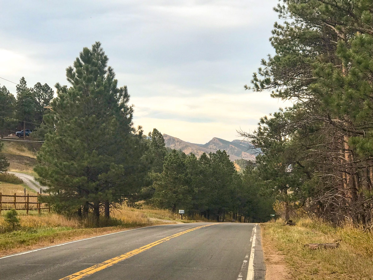 Beautiful view on Olde Stage Road road biking route in Boulder, Colorado