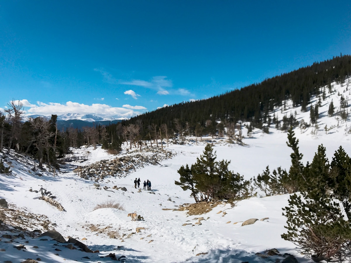 Group of hikers hiking on St. Mary's Glacier hike in Denver