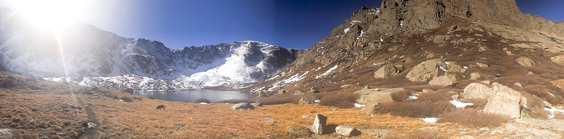 Panoramic view of Chicago Lakes hike near Denver, Colorado