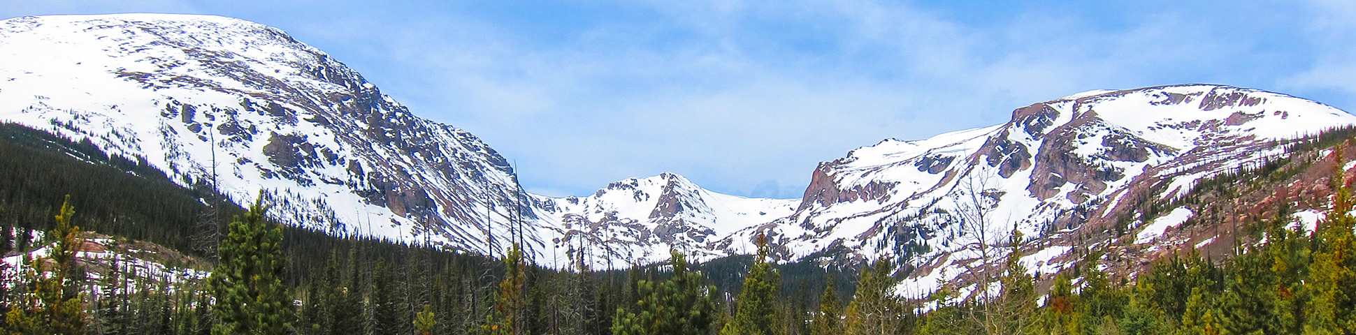 Panorama of Bluebird Lake hike in Rocky Mountain National Park, Colorado
