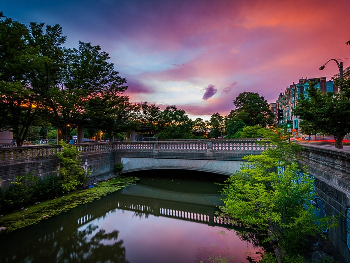 Sunset over Commonwealth Avenue Mall on Emerald Necklace walking tour in Boston