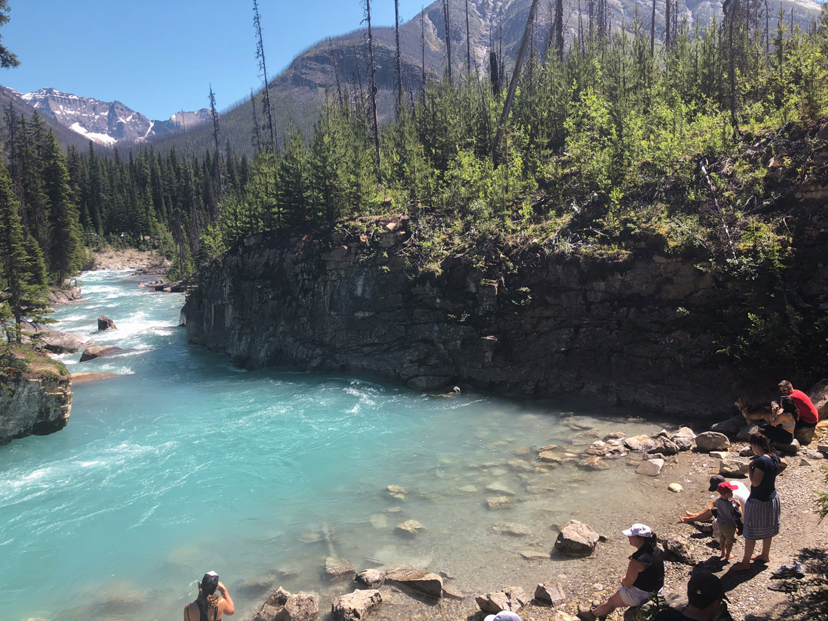 Rocky shore of the river on Marble Canyon hike in Kootenay National Park