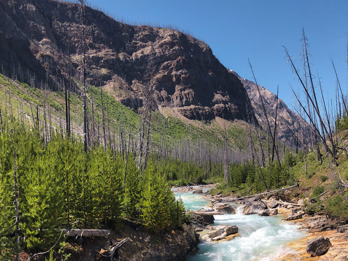 Rocky slopes near the river on Marble Canyon hike in Kootenay National Park, British Columbia