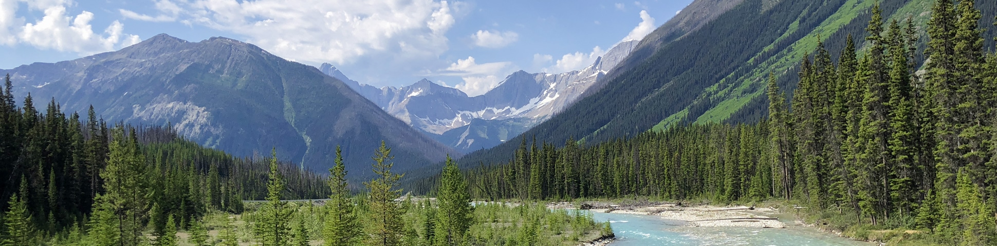 Panorama of Paint Pots hike in Kootenay National Park, the Canadian Rockies