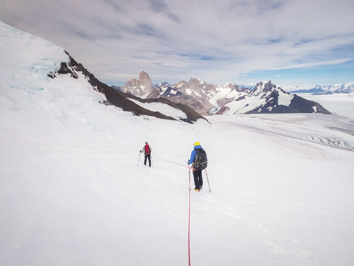 Roped together for safety on the icefield