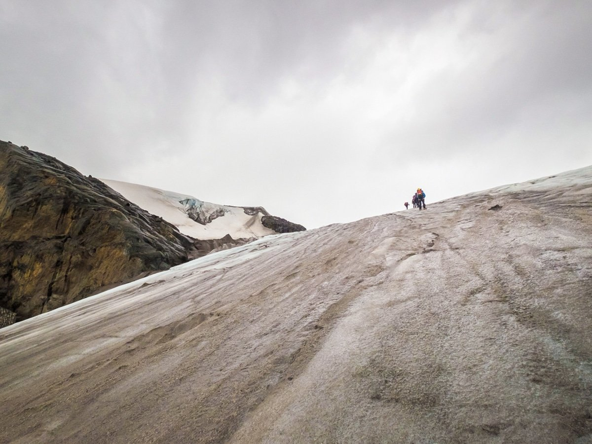 The climb up the glacier onto the icefield is extremely steep