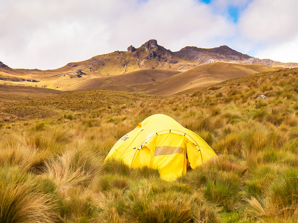 Campsite under Paso Tres Cruces on Ecuador Inca Trail trek