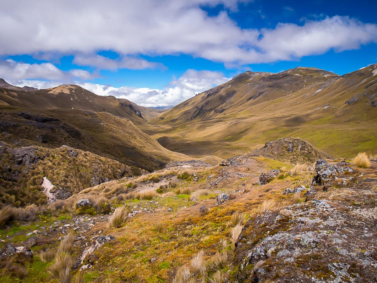 High grasslands and mountains Ecuador Inca Trail trek