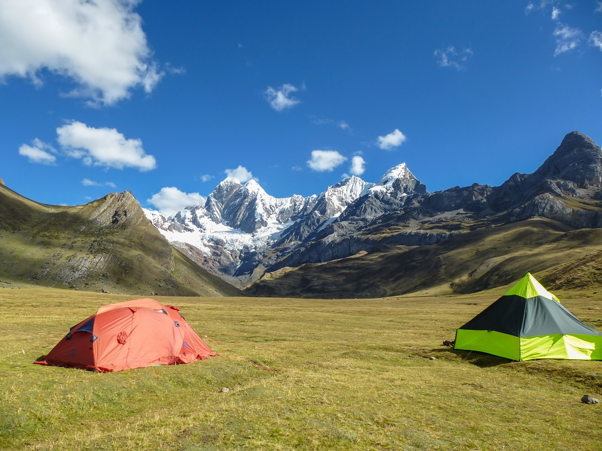 Camping in Cordillera Huayhuash on a guided tour